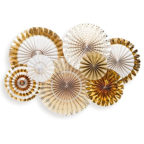 My Minds Eye FYP108 Single Sided Glitter and Gold Party Fans Rosettes, Set of 8