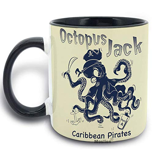 Moslion Octopus Mug Ocean Angry Octopus Jack with Anchor Caribbean Pirates Hat Wine Cup Funny Coffee Mug 11 oz Ceramic Mug for Kitchen Office Black Inside ()