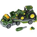 Theo Klein 3908 - Bau- und Konstruktionsspielzeug - Transporter mit John Deere Traktor