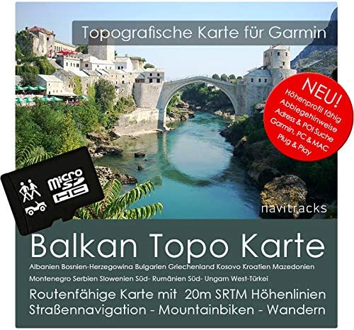 Tarjeta Balcanes Adria Garmin Topo a 8 GB MicroSD. con Albania, Bosnia y Herzegovina, Bulgaria, Grecia, Kosovo, Croacia, Macedonia, Montenegro, Serbia, Eslovenia, sur de Rumanía, sur de Hungría y West de Turquía.