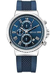 Baogela Mens Chronograph Stainless Steel and Blue Silicone Band Casual Watch Roman Numerals
