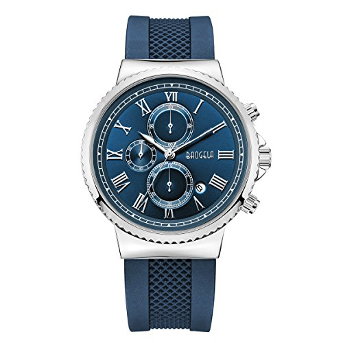 BAOGELA Mens Dress Army Chronograph Analog Quartz Watch with Navy Blue Silicone Band and Blue Big Face Waterproof Watches for Men