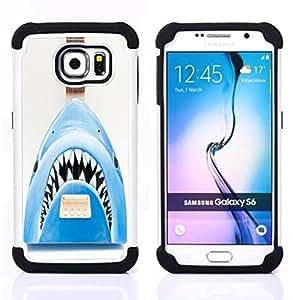 /Skull Market/ - Shark Sea For Samsung Galaxy S6 G9200 - 3in1 h????brido prueba de choques de impacto resistente goma Combo pesada cubierta de la caja protec -