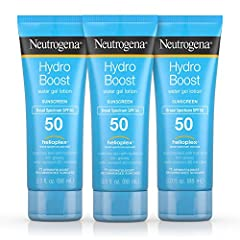 Neutrogena Hydro Boost Water Gel Lotion Sunscreen with Broad Spectrum SPF 50 delivers superior broad spectrum UVA/UVB protection and hydration with a water-light, refreshing feel. This water-resistant sunscreen lotion with SPF 50 leaves skin ...