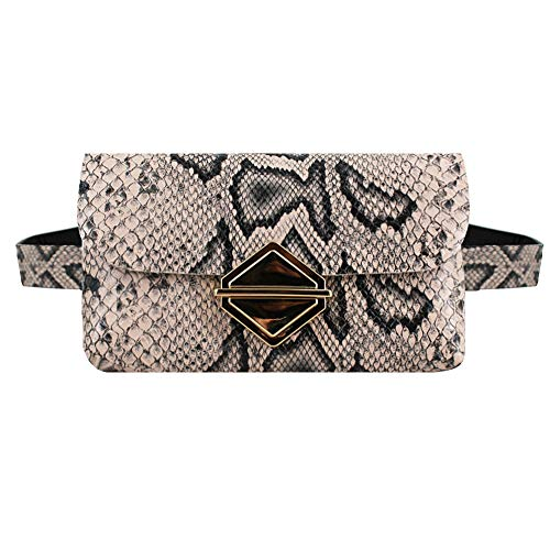 PU Leather Elegant Fanny Pack Fashion Snakeskin Pattern Waist Bag Belt Bag Purse Phone Wallet-A-Apricot ()