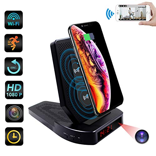 Spy Hidden Camera Wireless Charger ZXWDDP WiFi 1080p Camera Hidden Nanny Cam with Motion Detection Height Adjustment Loop Recording Mobile Phone Remote Monitoring Support iOS Android