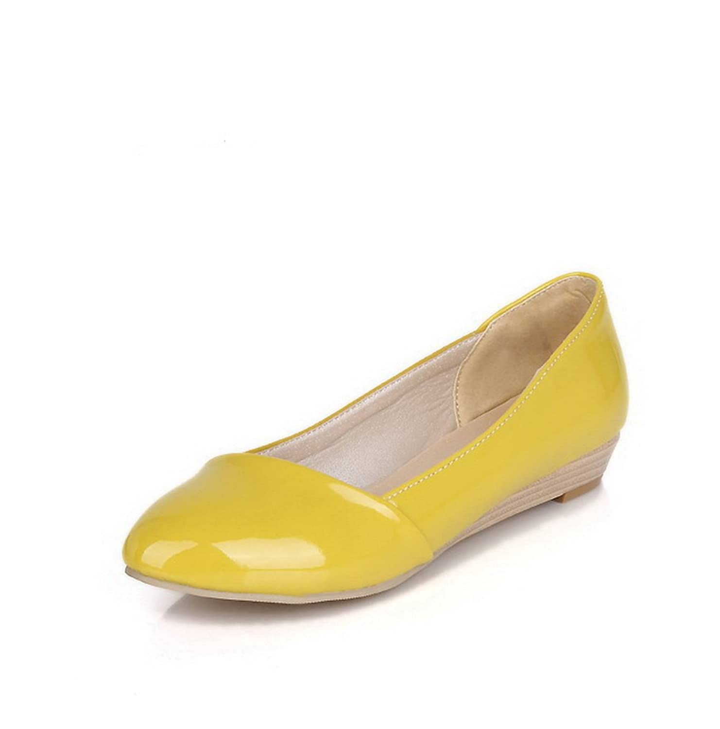 WeiPoot Women's Low-Heels Round Closed Toe PU Pumps-Shoes