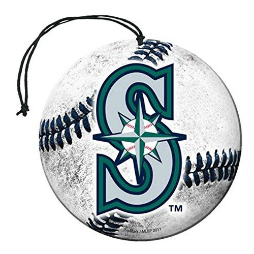 [해외]면허 MLB 시애틀 매리너스 뉴카 향기 야구 모양 W 로고 공기 청정기 3 팩 세트 팀 로고 w 선물 상자/Licensed MLB Seattle Mariners Nu-Car Scent Baseball Shape W L
