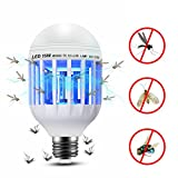 ThreeCat Mosquito Zapper Lamp, 110v Electronic Indoor Bug Zapper LED Light Bulb, E26/E27 Light Base Mosquito Trap, Insect Killer Lamp for Outdoor Porch Patio, Garden