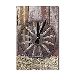 Lantern Press Wagon Wheel (Acrylic Wall Clock)