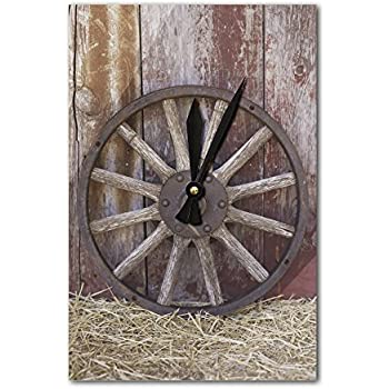 Amazon Com Wagon Wheel Acrylic Wall Clock Home Amp Kitchen
