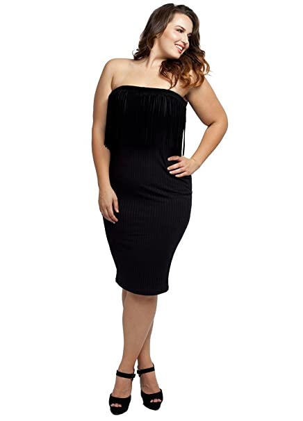 Stylzoo Womens Junior Plus Size Stretchy Knit Black Dress Boho