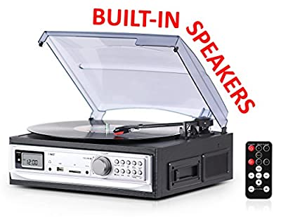 Record Player with Speakers and Cassette Player - Record on USB From Turntable & Cassette - 3 Speed Stereo Vinyl Record Player - A Vinyl Player with a Remote Control - Wooden Phonograph Record Player from eXuby