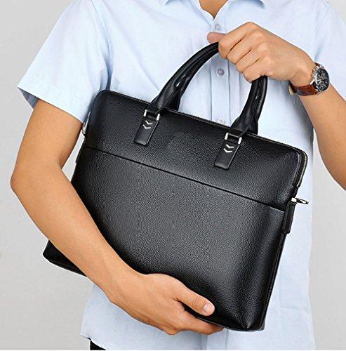 RENHONG Männer Retro Schwarz Braun Echt Leder Aktentasche Schultertasche Messenger Bag Business Casual Büro College Laptop Notebook Tasche B