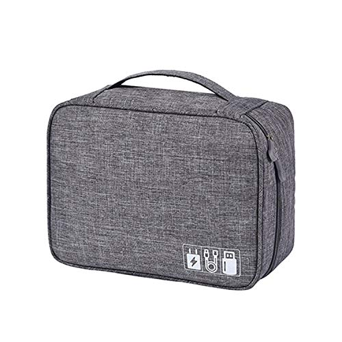 Portable Digital Storage Bags Organizer Usb Gadgets Cables Wires Battery Zipper Cosmetic,Gray Bag