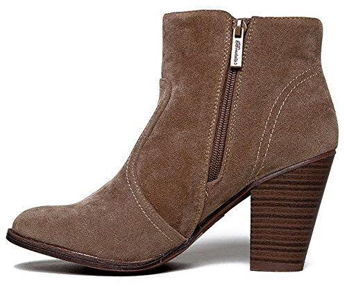 Breckelles Damen HEATHER-34 Faux Wildleder Chunky Heel Ankle Booties Beige*