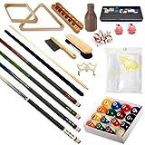 Pool Table - Premium Billiard 32 Pieces Accessory Kit - Pool Cue Sticks