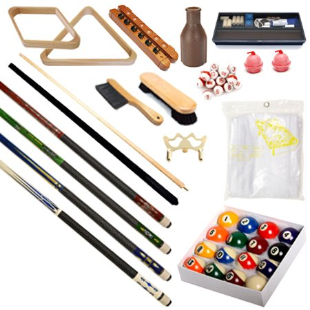 Pool Table - Premium Billiard 32 Pieces Accessory Kit - Pool Cue Sticks Bridge Ball Sets (Kit Table Pool Accessories)