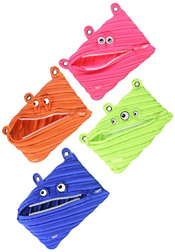 ZIPIT Monster 3-Ring Pencil Case, 4-Pack (Pink, Orange, Lime, Blue)