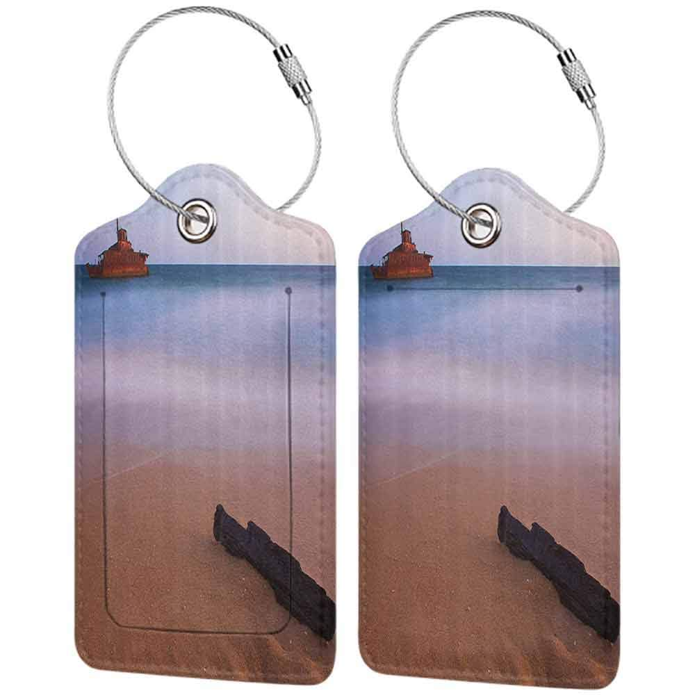 Small luggage tag Ocean Decor Shipwreck on Beach at Dusk in South Australian Lands by the Sea Shore Navy Nautical Quickly find the suitcase Multi W2.7 x L4.6