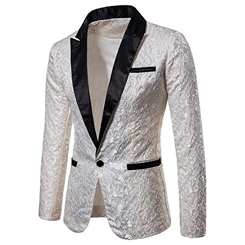 (Toimothcn Charm Men's Sequin Casual One Button Fit Suit Blazer Coat Jacket Party(White1,M))