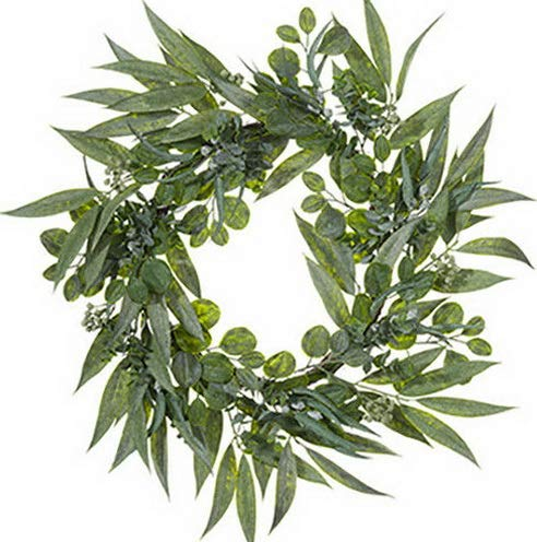 (Mikash 30 Eucalyptus w/Seed Artificial Hanging Wreath -2 Tone Green (Pack of 2)   Model WRTH - 432 )