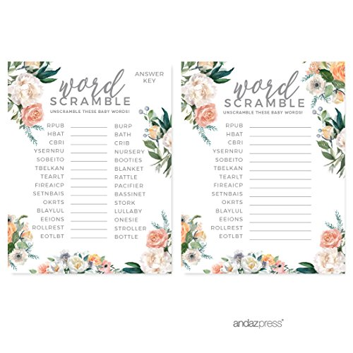 Coral Garden (Andaz Press Peach Coral Floral Garden Party Baby Shower Collection, Word Scramble Game Cards, 20-Pack, Games Activities and Decorations)