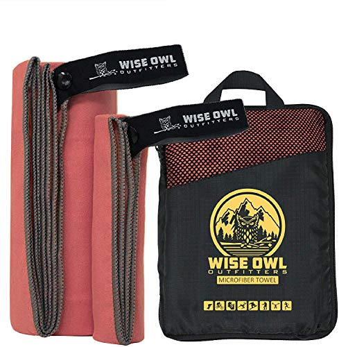 Wise Owl Outfitters Camping Towel & Gym Towel - Ultra Soft Compact Quick Dry Microfiber Best Fast Drying Fitness Beach Hiking Yoga Travel Sports Backpacking - LG Red