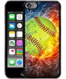 Flaming softball Fire and Water Black for iPod touch 6 Case