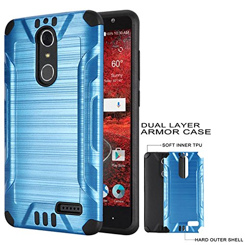 the latest 4b94f bdd14 Phone Case for ZTE Zmax-One LTE Z719DL / AT&T PREPAID ZTE Blade  Spark/Cricket ZTE Grand X-4 LTE Textured Brush Dual-Layered Cover (Combat  Brush ...