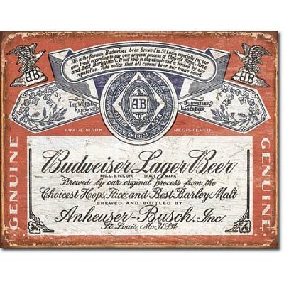 Budweiser Historic Label Distressed Retro Vintage Tin Sign by Poster Revolution (Budweiser Label Tin Sign)