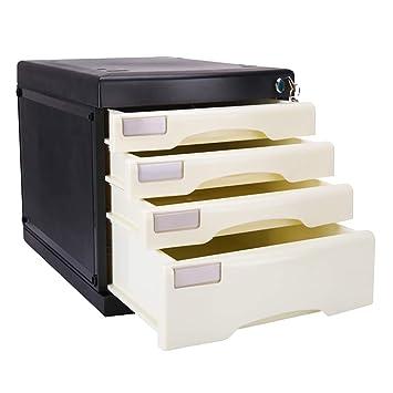 FPigSHS Archivadores de fichas Archivadores Caja de Almacenamiento Muebles de Oficina Gabinete de Archivo 4/5 cajones Escritorio plástico con Cerradura ...