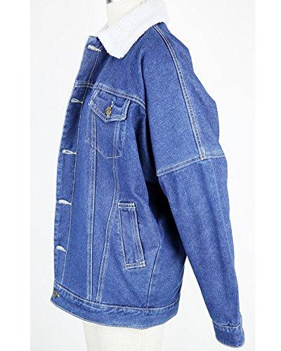 Manica Jeans Immagine Denim Pulsante Jacket Cappotti Outerwear Giacca Addensare Donna Come Lunga qEOBC