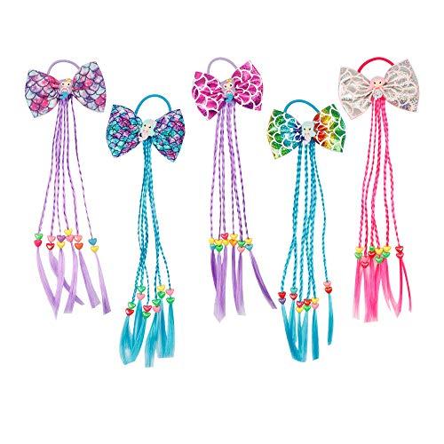 Oaoleer Unicorn Wig Braided Elastics Bands Princess Boutique Ponytail Ties, Rapunzel Hairpiece Costume Accessories Pack of 5 (5 Pcs Mermaid Elastics Ties Wig) ()