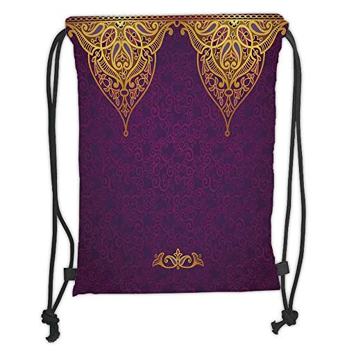 New Fashion Gym Drawstring Backpacks Bags,Purple,Eastern Oriental Royal Palace Patterns with Bohemian Style Art Traditional Wedding,Purple Gold Soft Satin,Adjustable String Closur