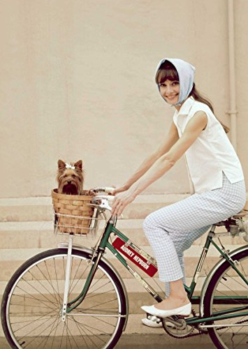 (Audrey Hepburn in White Tank Top Printed Pants on Bike with Dog Full Photo 8 inch x 10 inch)