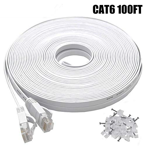 Cat-6 Ethernet Cable 100 FT White, BUSOHE Cat6 Long Flat RJ45 Computer Internet LAN Network Ethernet Patch Cable Cord - 100 Feet