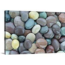 Canvas On Demand Premium Thick-Wrap Canvas Wall Art Print entitled Wet shiny granite pebbles on beach, full frame