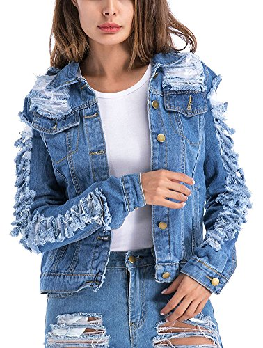 Denim And Tweed Jacket - LifeShe Womens Blue Distressed Button Denim Jean Jacket Coat (Blue, L)