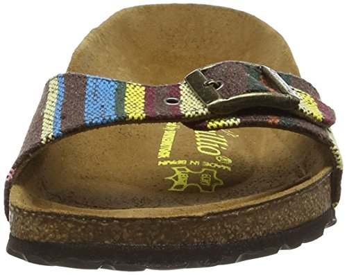 Papillio Madrid Textil/Leder Damen Pantoletten Mehrfarbig (Bohemian Stripes Brown)
