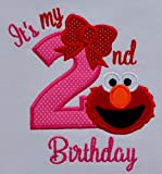 Elmo Its My 2nd Birthday Embroidered T-Shirt for Toddler Girls Turning 2
