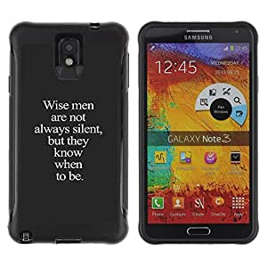LASTONE PHONE CASE / Suave Silicona Caso Carcasa de Caucho Funda para Samsung Note 3 / wise me grey text inspiring smart deep