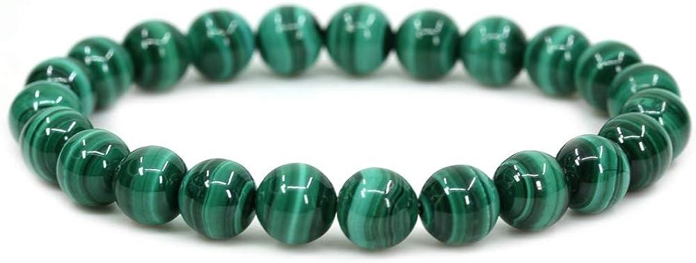 Pulsera de piedras semipreciosas hecha a mano con cuentas circulares de 8 mm y cordel elástico de 17,8 cm de Amandastone; unisex