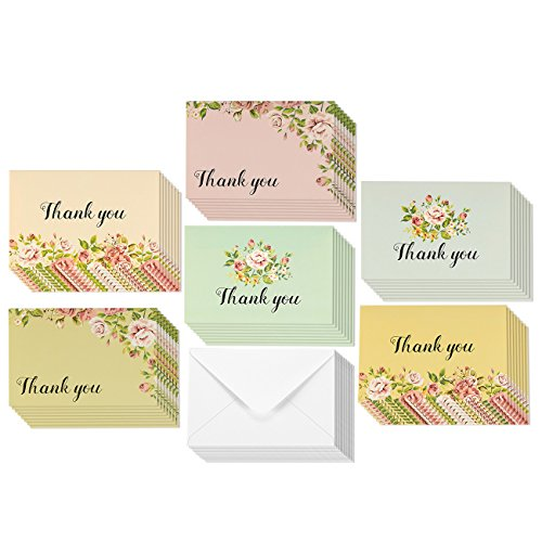 48 Pack Vintage Colorful Pink Rose Thank You Cards Flower Floral Design Bulk Box Set Envelopes Included (4 x 6 inches)