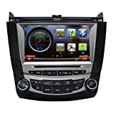 CarSong 8 inch HD Car DVD Player With GPS Navigation For 2003-2007 Honda Accord Dual Zone Double Din In Dash Multimedia Audio Stereo Video System Support Bluetooth iPOD USB SD RDS FM AM Touch Screen