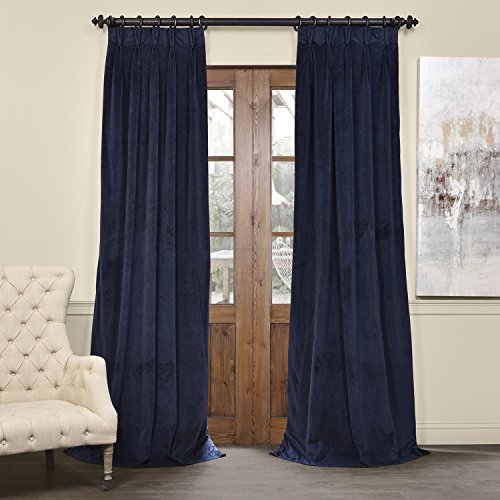 Half Price Drapes VPCH-194023-96-FP Signature Pleated Blackout Velvet Curtain, 25 x 96