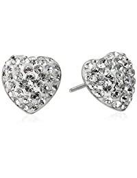 Sterling Silver White Heart with Swarovski Elements Stud Earrings