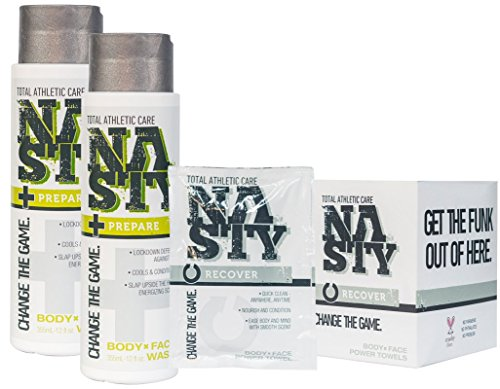 NASTY Total Athletic Care Face and Body Wash Plus Wipes Combo Pack, Best For Oil Control and Sore Muscle Relief