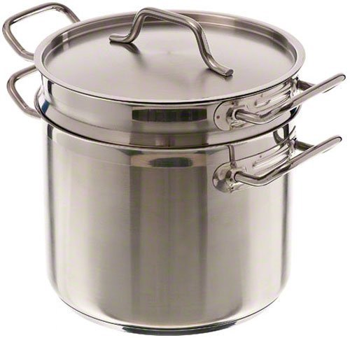 Update International (SDB-08) 8 Qt Induction Ready Stainless Steel Double Boiler w/Cover Stainless Boiler