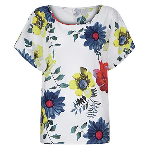 TOTOD Tops Blouse for Ladies, Women's Plus Size Holiday Bohemia Style Floral Print Loose Short Sleeve O-Neck Pullover Shirt(White,M) (Necktie 1940's Vintage)